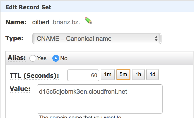 Point domain at Cloudfront