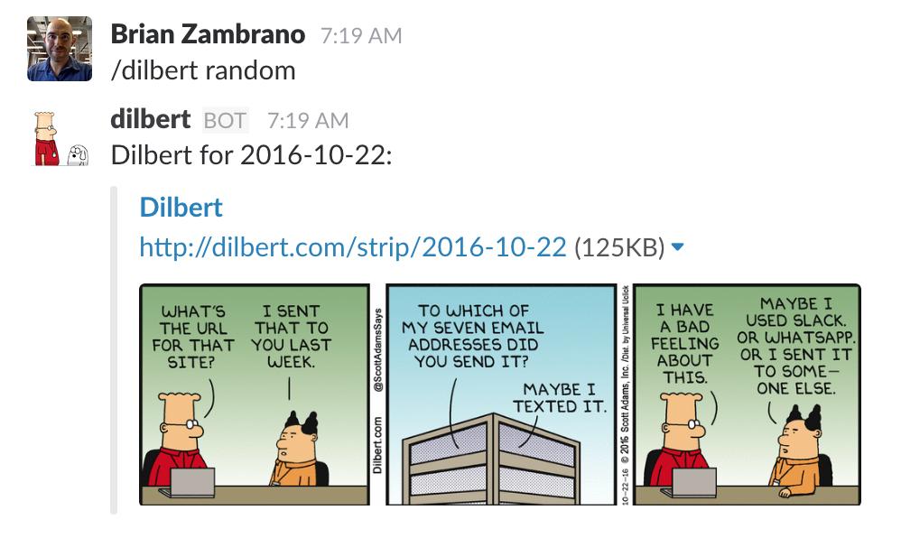 Dilbert random in Slack